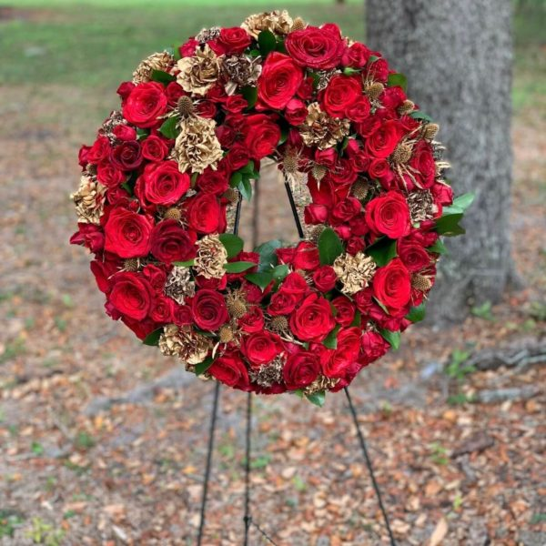 Red-Gold-Funeral-Wreath
